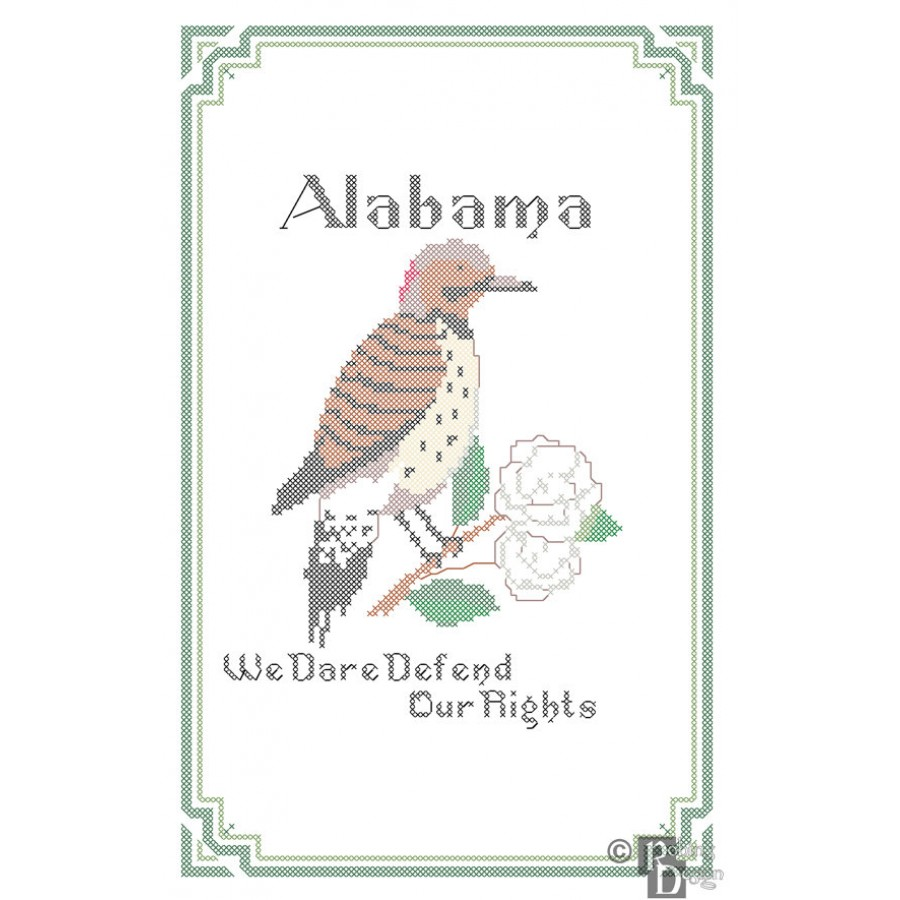 Alabama State Bird, Flower and Motto Cross Stitch Pattern PDF Download