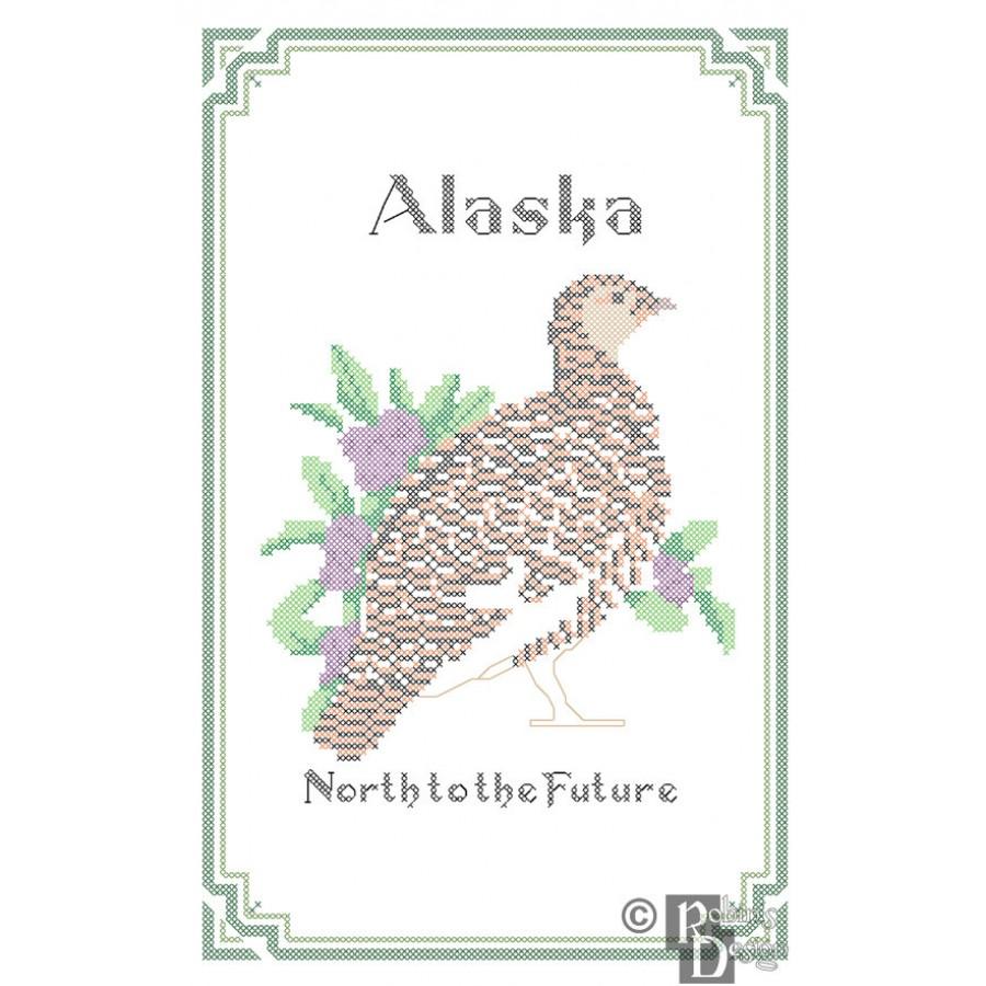 Alaska State Bird, Flower and Motto Cross Stitch Pattern PDF Download