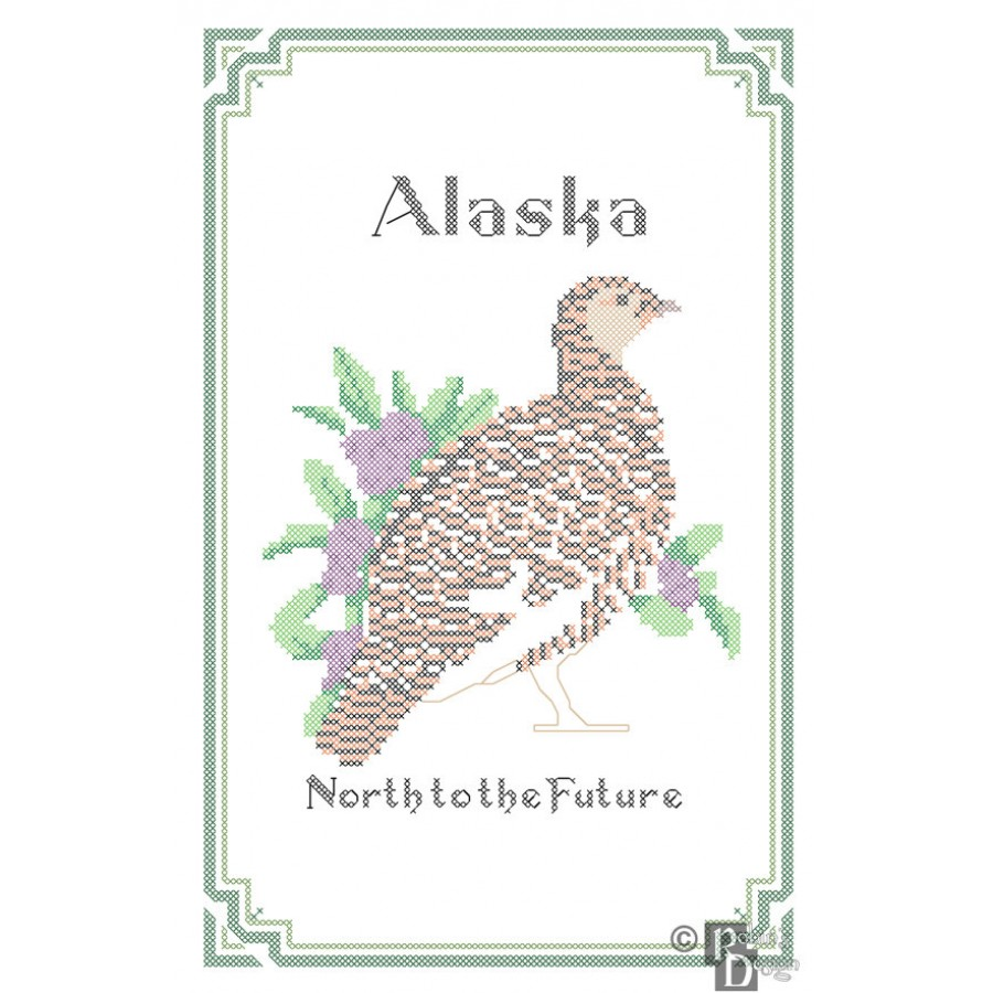 Alaska State Bird, Flower and Motto Cross Stitch Pattern PDF