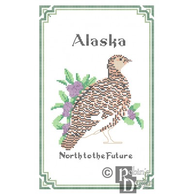 Alaska State Bird, Flower and Motto Cross Stitch Pattern PDF Download