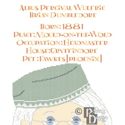 Albus Dumbledore Biographical Facts Cross Stitch Pattern PDF