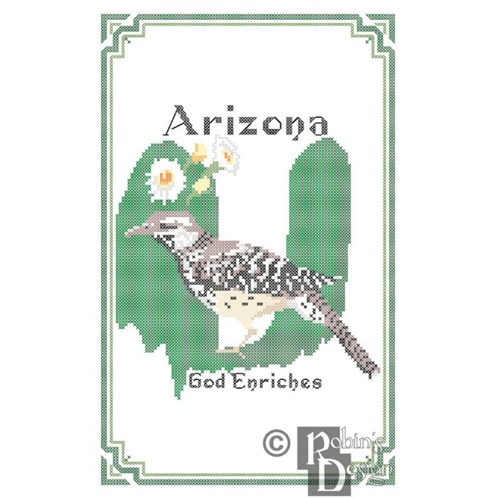 Arizona State Bird, Flower and Motto Cross Stitch Pattern PDF