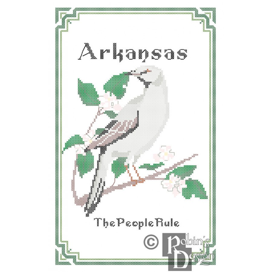 Arkansas State Bird Flower And Motto Cross Stitch Pattern PDF