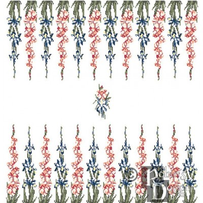 Backgammon Board Cross Stitch Pattern Gladiolus and Iris PDF