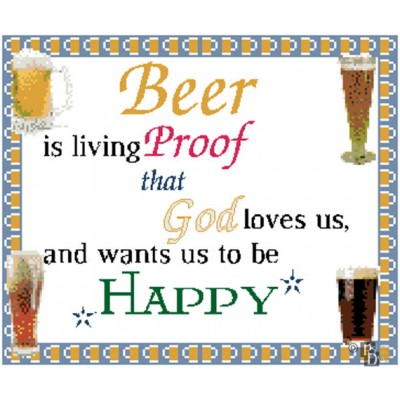 Beer is Living Proof That God Loves Us and Wants Us to be Happy Cross Stitch Pattern PDF Download
