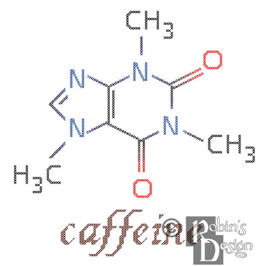 Caffeine Molecule Cross Stitch Pattern PDF