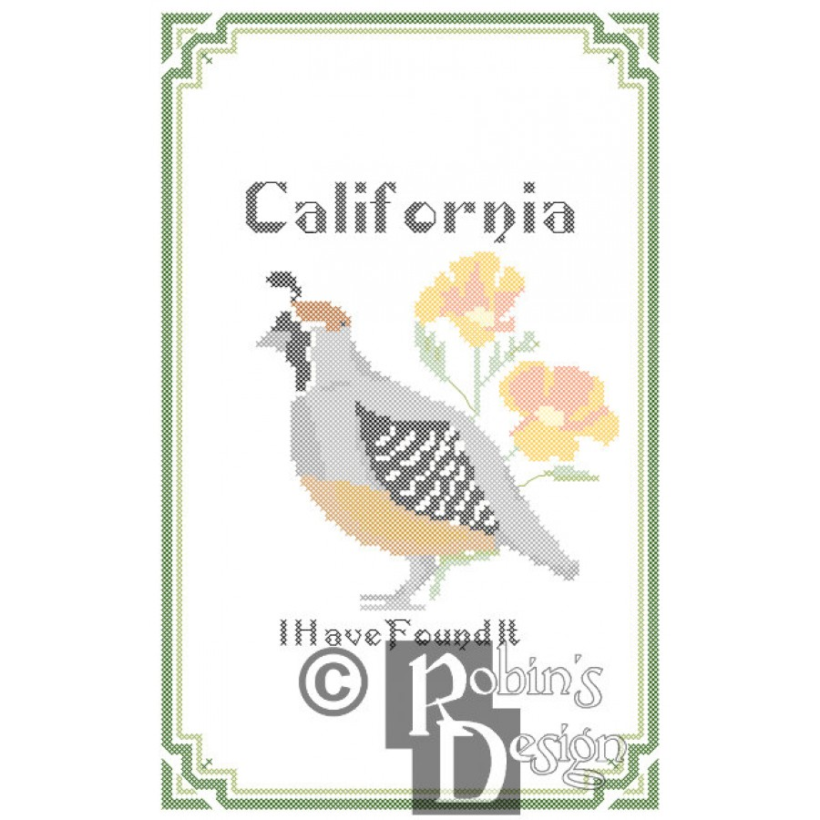 California State Bird, Flower and Motto Cross Stitch Pattern PDF Download