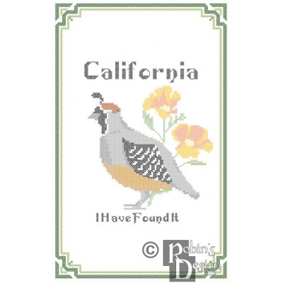 California State Bird, Flower and Motto Cross Stitch Pattern PDF