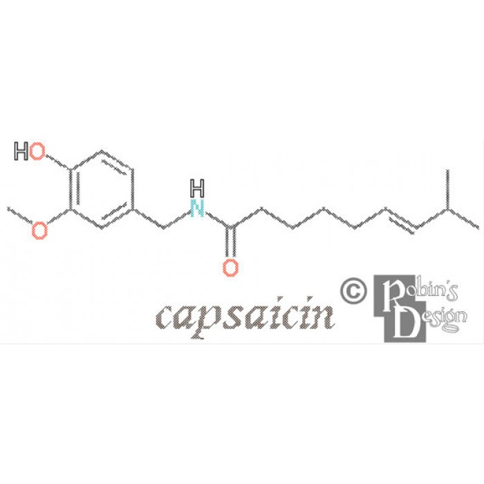 Capsaicin Molecule Cross Stitch Pattern PDF