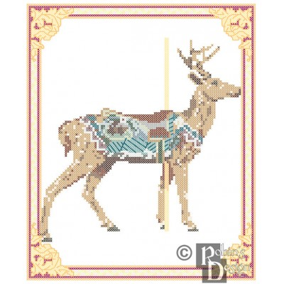 Carousel Deer Cross Stitch Pattern Herschell-Spillman, Golden Gate Park, San Francisco PDF