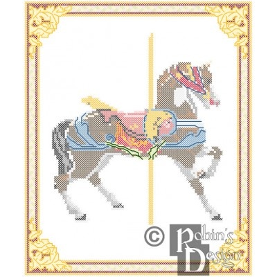 Carousel Horse Cross Stitch Pattern Dentzel PDF Download