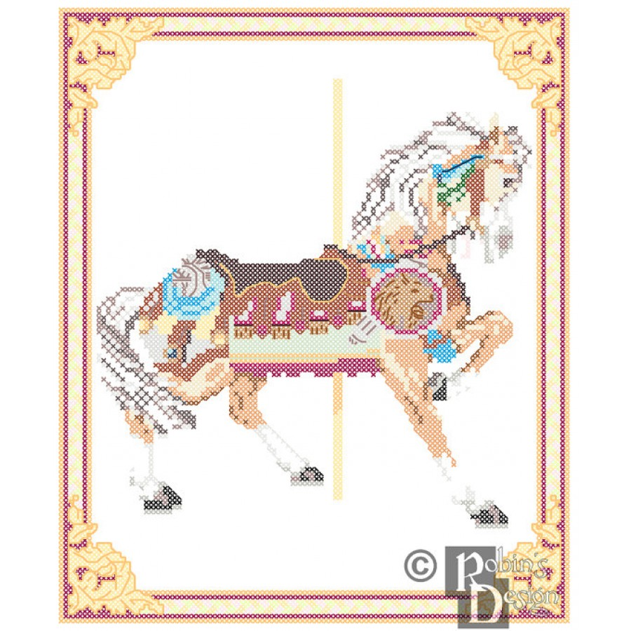 Carousel Horse Cross Stitch Pattern Philadelphia Toboggan Co., King's Dominion, VA  PDF