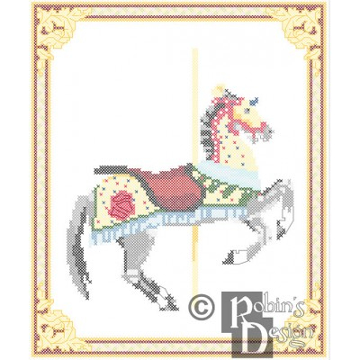 Carousel Horse Knight's Charger Cross Stitch Pattern Herschell-Spillman PDF Download