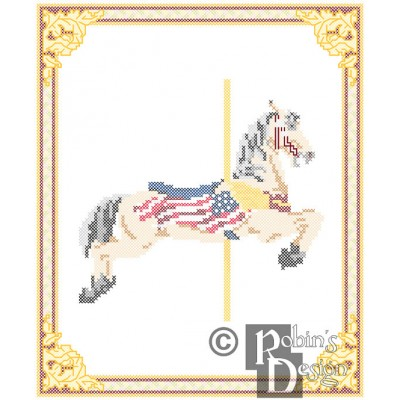 Carousel Horse Patriotic Cross Stitch Pattern Herschell-Spillman Golden Gate Park, San Francisco, CA PDF