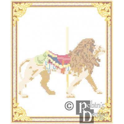 Carousel Lion Cross Stitch Pattern Philadelphia Toboggan PDF Download