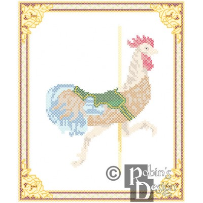 Carousel Rooster Cross Stitch Pattern Herschell-Spillman PDF Download