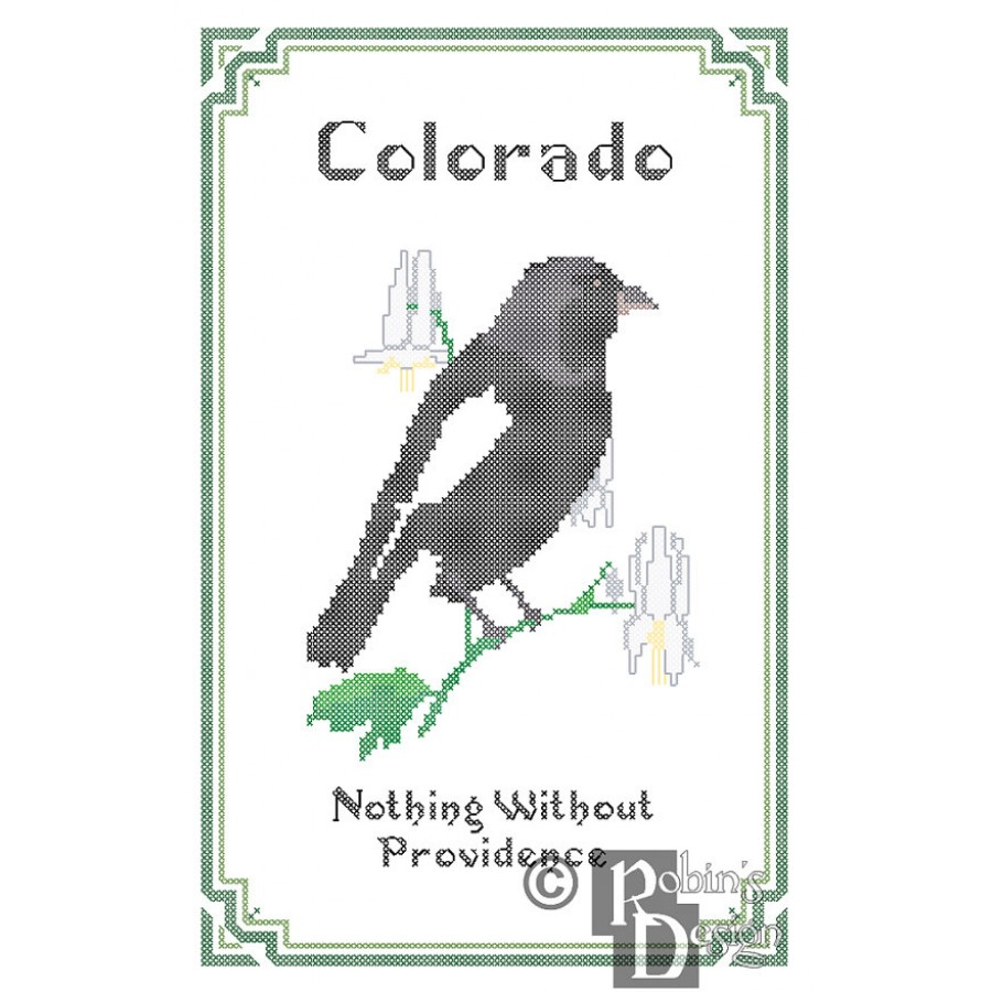 colorado state bird flower and motto cross stitch pattern pdf