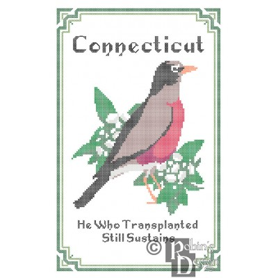 Connecticut State Bird, Flower and Motto Cross Stitch Pattern PDF