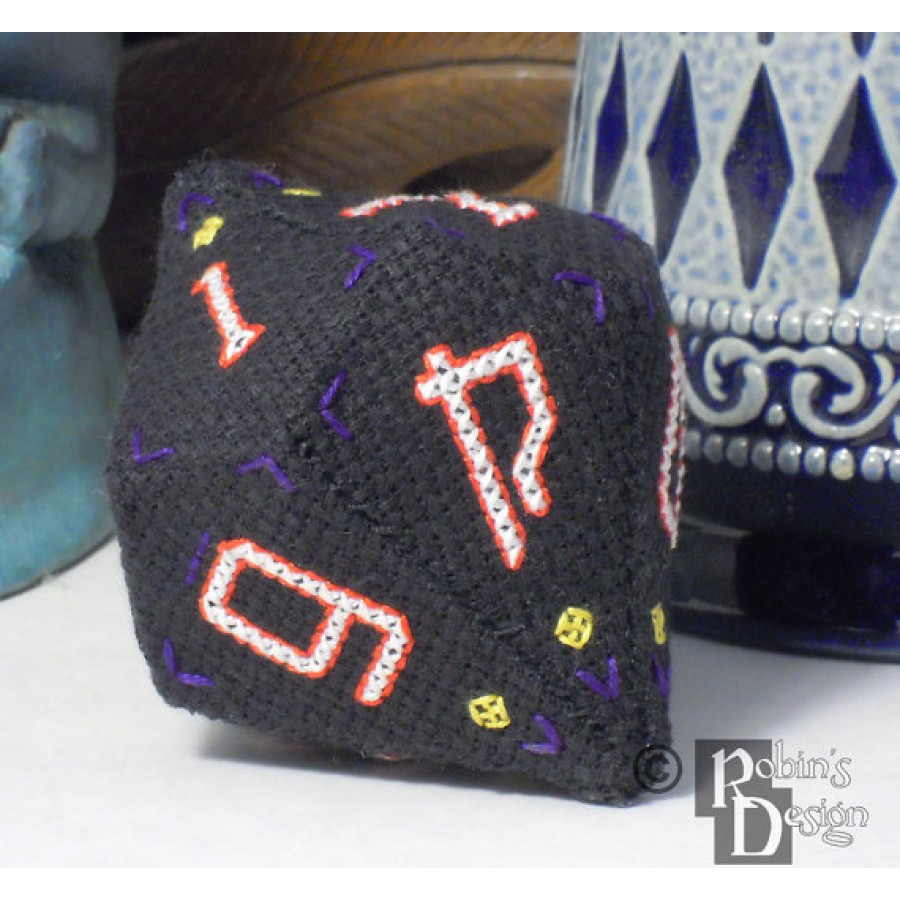 D10 Pentagonal Trapezohedron 3D Cross Stitch and Sewing  Pattern PDF