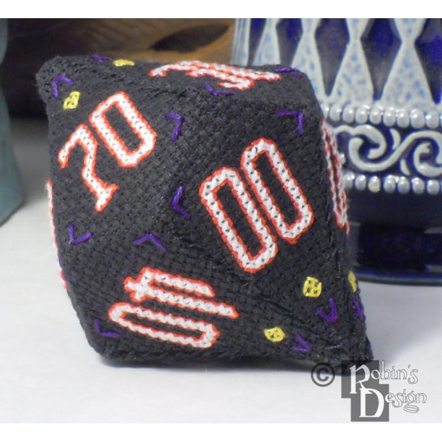 D10 Pentagonal Trapezohedron 3D Cross Stitch and Sewing  Pattern PDF