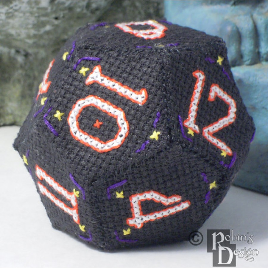 D12 Dodecahedron 3D Cross Stitch Sewing  Pattern PDF Download