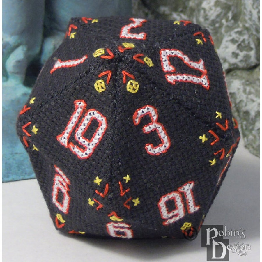 D20 Icosahedron 3D Cross Stitch Sewing  Pattern PDF