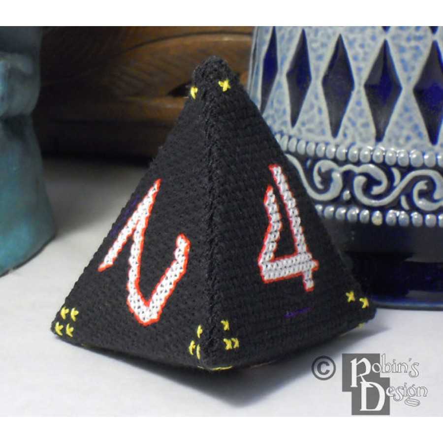 D4 Tetrahedron 3D Cross Stitch Sewing  Pattern PDF