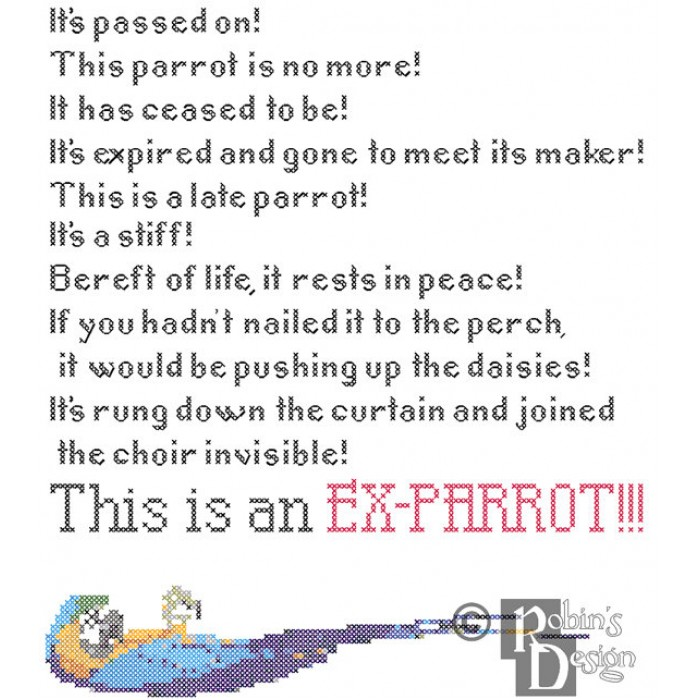 Dead Parrot Sketch Rant Cross Stitch Pattern PDF
