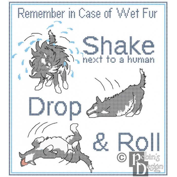 Dog Safety Poster In Case of Wet Fur Shake, Drop & Roll Cross Stitch Pattern PDF
