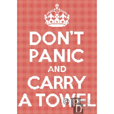 Don't Panic and Carry a Towel Cross Stitch Pattern Easy PDF Download