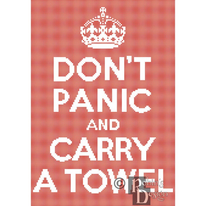 Don't Panic and Carry a Towel Cross Stitch Pattern Easy PDF