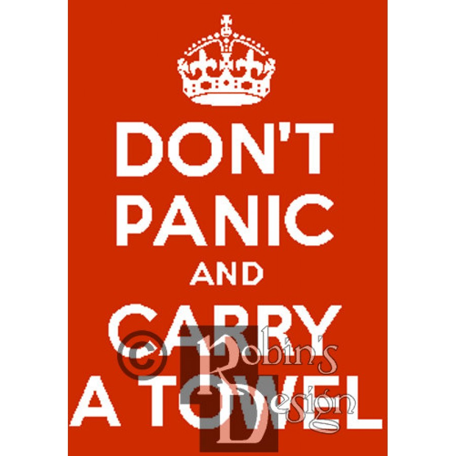Don't Panic and Carry a Towel Cross Stitch Pattern PDF