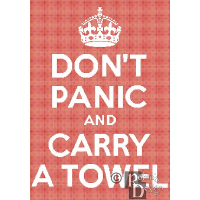 Don't Panic and Carry a Towel Cross Stitch Pattern PDF Download