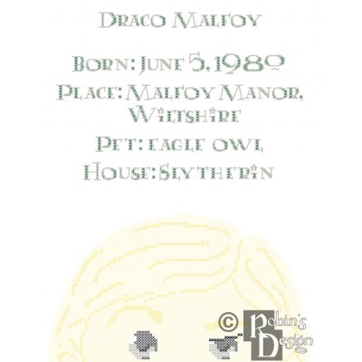 Draco Malfoy Biographical Facts Cross Stitch Pattern PDF
