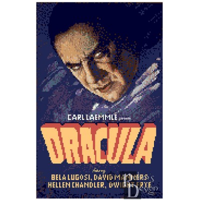Dracula Movie Poster Cross Stitch Pattern PDF Download