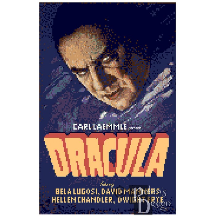Dracula Movie Poster Cross Stitch Pattern PDF