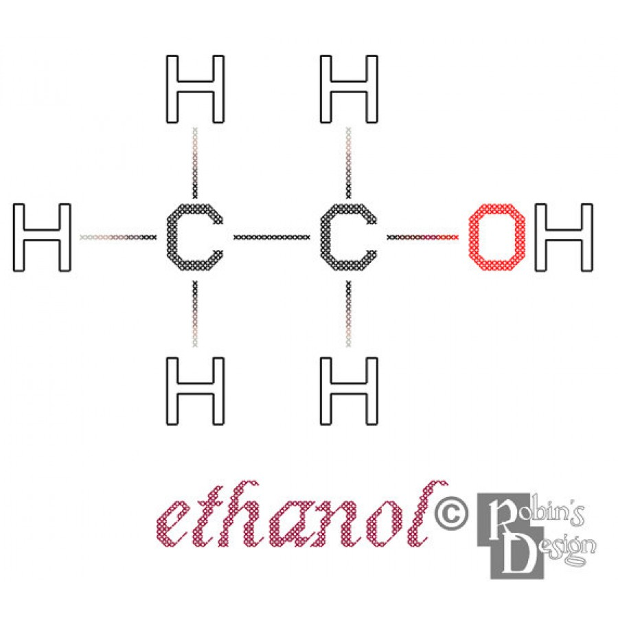Ethanol Molecule Cross Stitch Pattern PDF