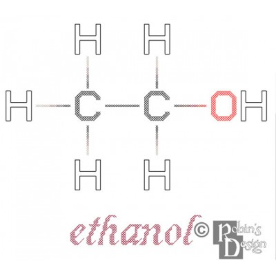 Ethanol Molecule Cross Stitch Pattern PDF Download
