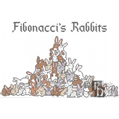 Fibonacci's Rabbits Cross Stitch Pattern PDF Download