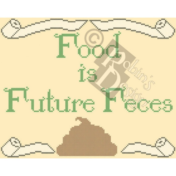 Food is Future Feces Cross Stitch Pattern PDF