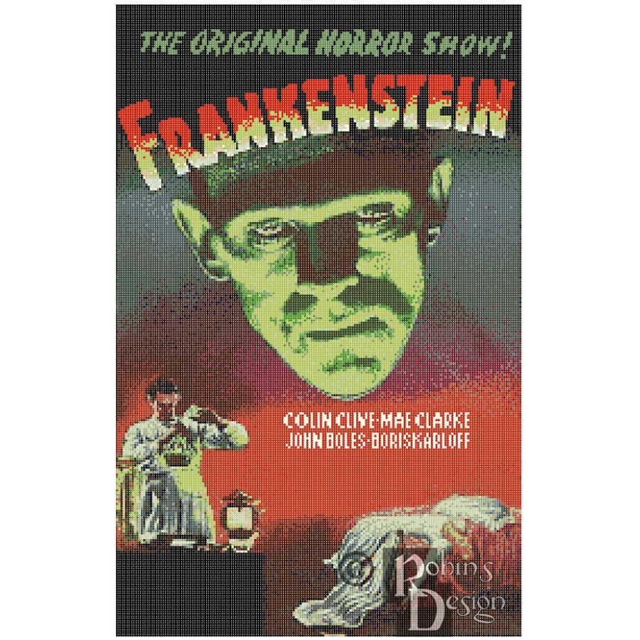 Frankenstein Movie Poster Cross Stitch Pattern PDF