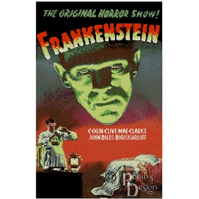 Frankenstein Movie Poster Cross Stitch Pattern PDF Download