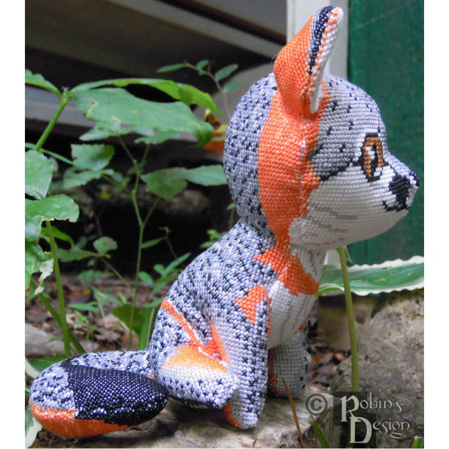 Gray Fox Doll 3D Cross Stitch Animal Sewing Pattern PDF Download
