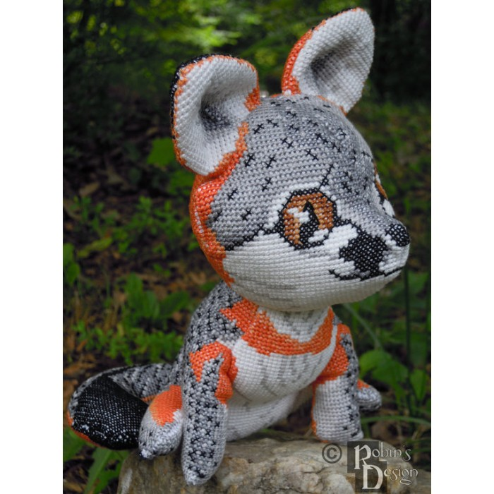 Gray Fox Doll 3D Cross Stitch Animal Sewing Pattern PDF