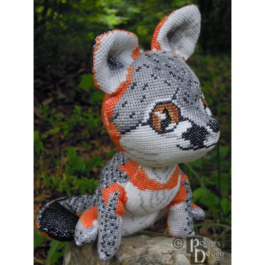 Gray Fox Doll 3d Cross Stitch Animal Sewing Pattern Pdf
