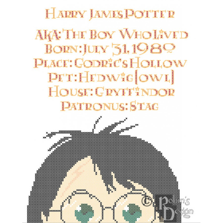 Harry Potter Biographical Facts Cross Stitch Pattern PDF