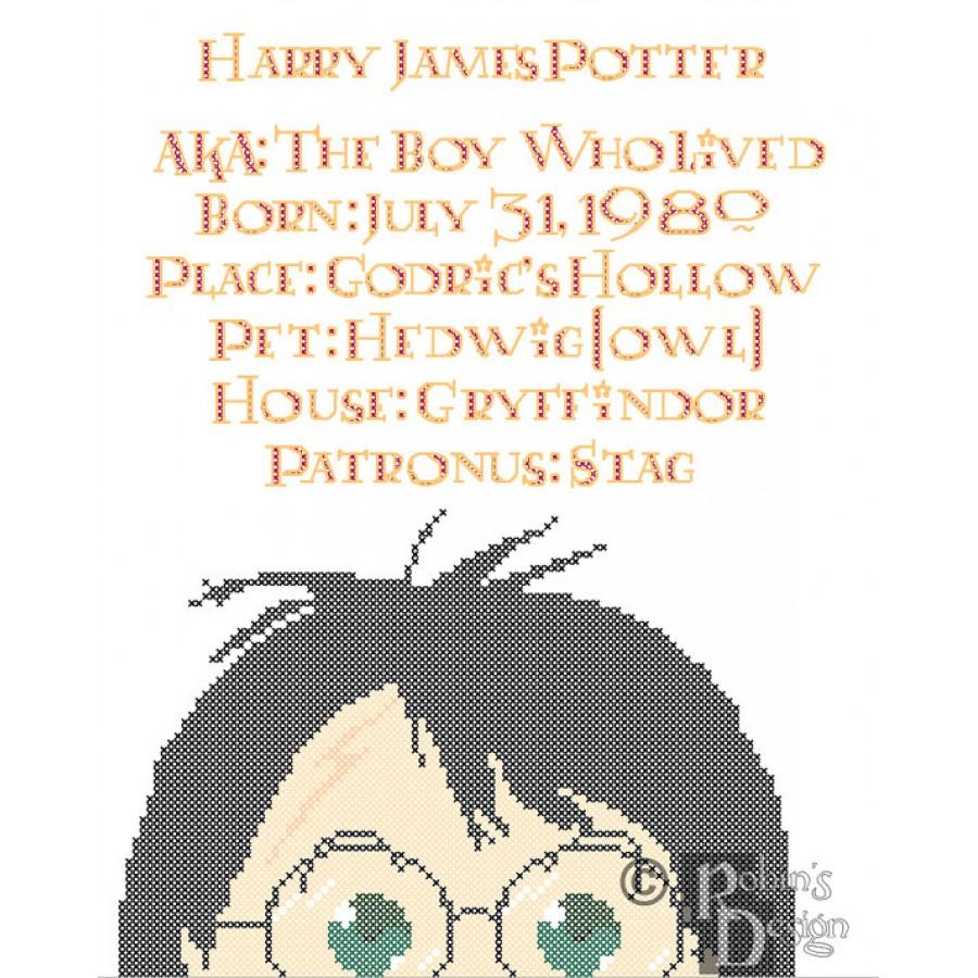 Harry Potter Biographical Facts Cross Stitch Pattern PDF