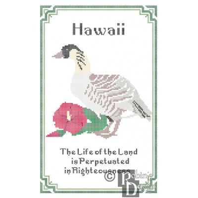 Hawaii State Bird, Flower and Motto Cross Stitch Pattern PDF