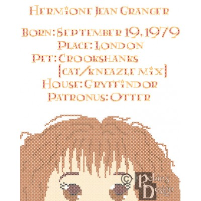 Hermione Granger Biographical Facts Cross Stitch Pattern PDF Download