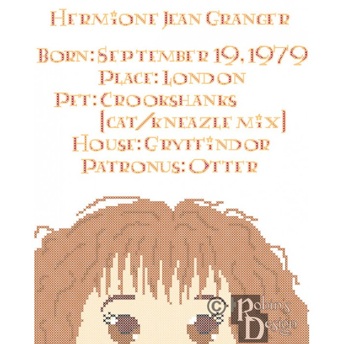 Hermione Granger Biographical Facts Cross Stitch Pattern PDF